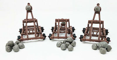 3 Piece Medieval Catapult with Boulders for Castle Wars