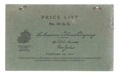 American Tobacco Co. 1919 Dealer's Price List Many Brands & Types Of Tobacco