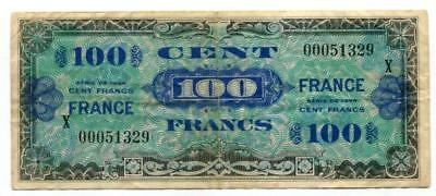 France - 1944 - 100 francs - X serial numbers - Replacement banknote - GVF