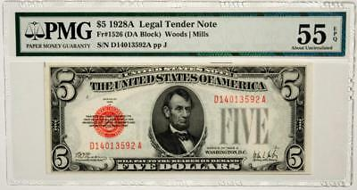 1928-A $5 Legal Tender Note RED SEAL Fr#1526 DA Block PMG 55 EPQ About Unc.