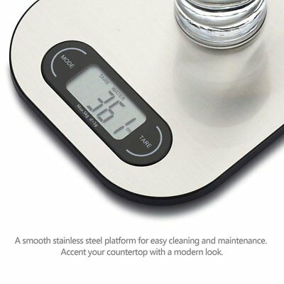 Ultra Thin Stylish Digital Multifunction Stainless Steel Kitchen Food Scale NEW