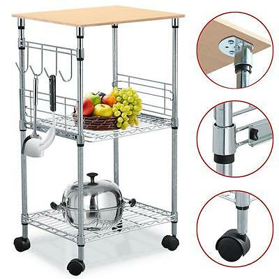 3-Tier Chrome Wire Rolling Kitchen Cart Utility Food Service Microwave Stand