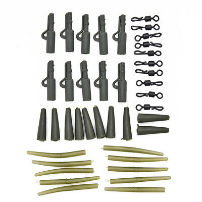 40pcs Carp Fishing Lead Clips Quick Change Snap Clips and Tail Rubber Connector-