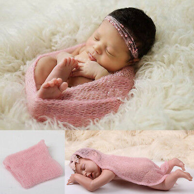 Newborn Infant Baby Crochet Mohair Wrap Knit Stretch Photo Costume Prop Acces