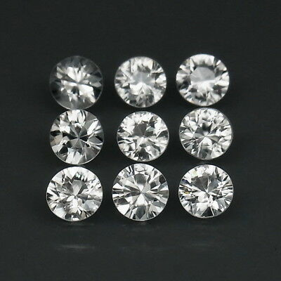Round Diamond Cut 5 mm.Perfect Cut Natural White Zircon Cambodia 9Pcs/6.53Ct.