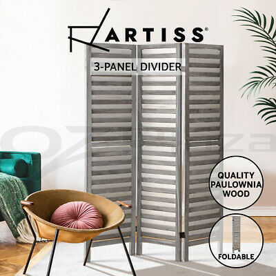 Artiss 3 Panel Room Divider Screen Privacy Wood Foldable Timber Stand Grey 170cm