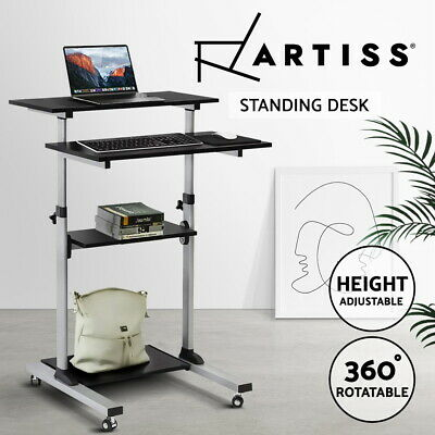 Artiss 4-Tier Adjustable Mobile Sit Standing Laptop Desk Portable Study Table