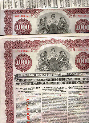 Set 2 German Government Int. Loan of 1930 (Young-Loan), $1000 Gold bond, US Issu