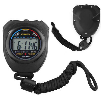Digital Handheld Sports Stopwatch Stop Watch Timer Alarm Counter Black UK