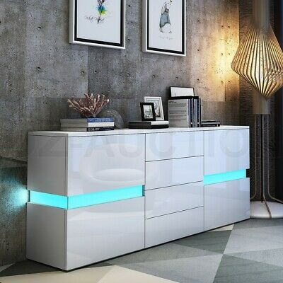 Buffet Sideboard Cabinet High Gloss Storage Cupboard 2 Doors 4 Drawers w/RGB LED