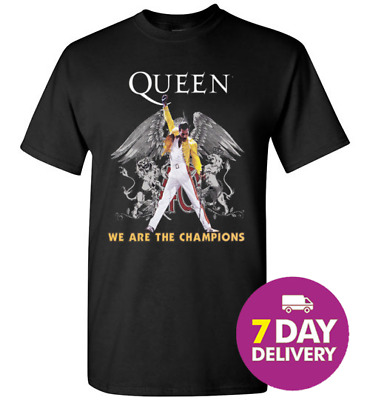 74145b67d027 QUEEN FREDDIE MERCURY WE ARE THE CHAMPIONS Black T-Shirt All Size ...