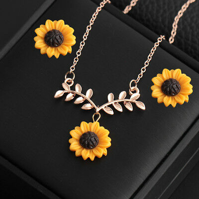 Women Necklace Sunflower Leaf Pendant Chain Choker Clavicular Ear Stud Set Gift