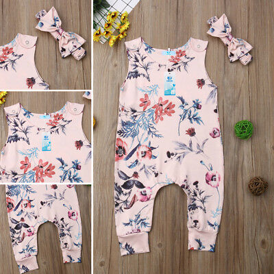 UK Infant Baby Girl Floral Romper Bodysuit Jumpsuit Outfits Clothes Headband Set