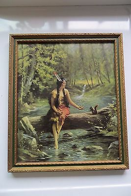 woman with feather sitting on log over stream feeding a squirrel,old painting