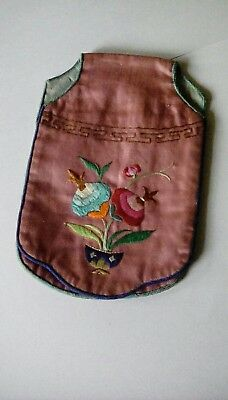 Chinese antique silk hand embroidery ' purse'