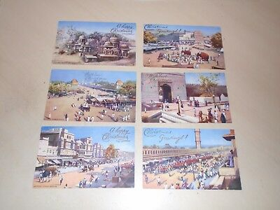 6 Early Tuck Oilette Postcards - Jeypore, India - Christmas Overprint
