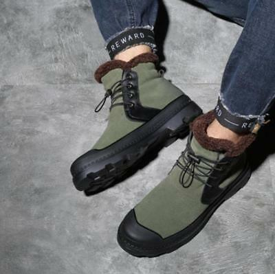 Mens Ankle Boots Low Heels Lace Up Round Toe Padded Plush Warm Outdoors 2Colors