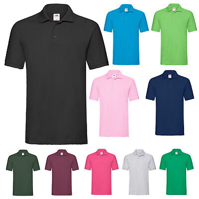 Fruit Of The Loom Premium Cotton Pique Short Sleeve Mens Polo Shirt Ss5
