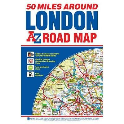 A-Z 50 Miles around London Road Map - Map NEW Geographers A-Z 2015-11-25