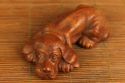 rare antique chinese old boxwood hand carved dog statue netsuke collectable