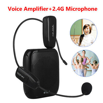 Headphone Voice Amplifier Booster +2.4Ghz Wireless Microphone for Teaching Coach