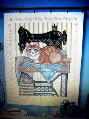 HERRSCHNERS VINTAGE SEWING ROOM CAT LAP QUILT TOP STAMPED CROSS STITCH  34x43""