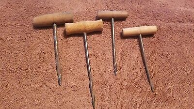 Lot of 4 Vintage Gimlet Hand Tools Wood Handle Carpentry