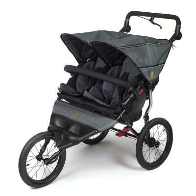 Out n About Nipper Sport Double Jogger Pushchair (Steel Grey) Twin Buggy