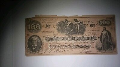Confederate currency $100 Dollar Bill
