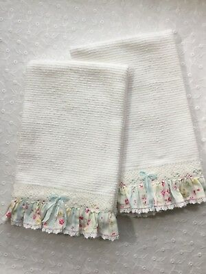 2 Soft barmoppy cotton towels with HM vintage-look ruffles n lace Kitchen Sweet