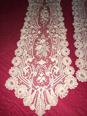 """Antique C1820 Hand Made Brussels Mixed Lace Lappet 110"""" Fine Work Wedding Ex Con"""