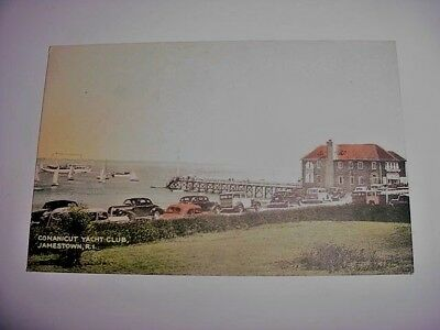 ORIGINAL ANTIQUE POSTCARD VIEW CONANICUT YACHT CLUB JAMESTOWN R. I. CIRCA. 1920s