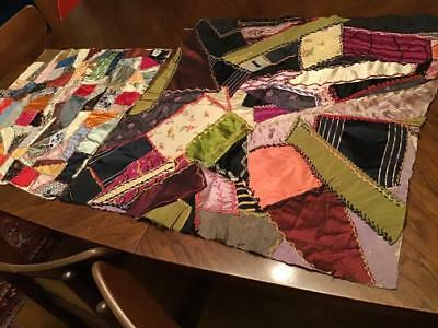"""VTG.CRAZY QUILT TOPS X2 UNFINISHED SILKS & SATIN FABRIC""""as is"""" 25""""X25"""" &20"""" X20"""""""
