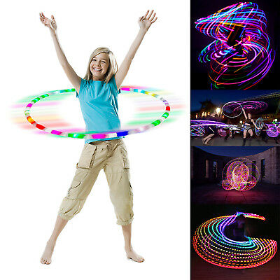 Flashing Led Hula Hoop Light Up Adult Child Fitness 90cm Weighted Dance Fitness