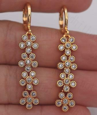 "18K Yellow Gold Filled 1.7"" Earrings Zircon Floral Chain Drop Stud Wedding Lady"