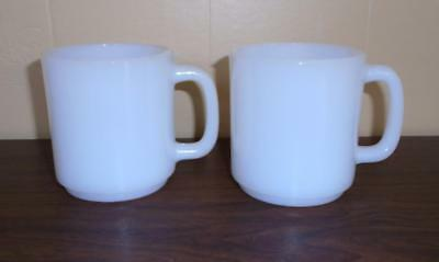 2 Vintage Glasbake White Milk Glass Coffee Mugs Coffee Cups Nos