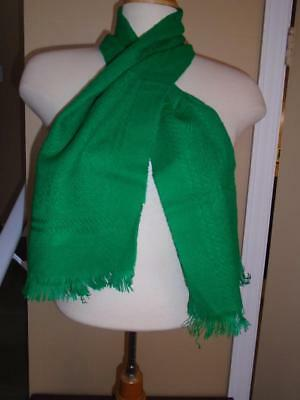 VTG 1960s BRIGHT GREEN ACRYLIC WINTER SCARF FRINGES SNOWFLAKE PATTERN NWT