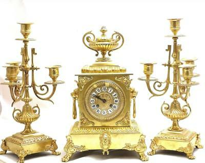 Antique 19th c French Japy Freres Gilt  Bronze 8 Day Mantle Clock Garniture Set