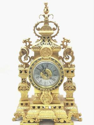 Magnificent 1880 Antique 8 Day French Thick Pierced Bronze Striking Mantle Clock