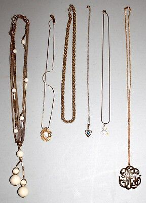 Lot of Vintage to New Gold Tone Necklaces & Pendants-Estate Jewelry--Great Deal!