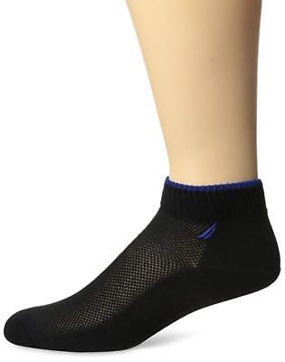 NWT~Nautica Boys' 6 Pack Black Quarter Crew Socks Size 7-8.5/Shoe 9-1.5~NEW