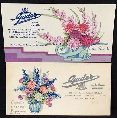 Two 1940'S Advertising Blotters For Gude'S Florist, Gude Bros. Co. Washington, D