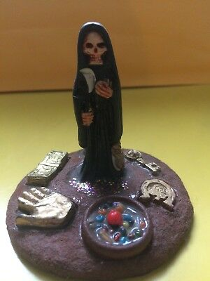 Mini Altar Holy Death Black santa muerte statue Mexico Loaded US Seller Fast S&H