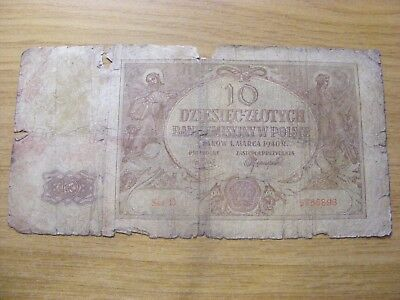 A 1940 Poland 10 Zlotych Banknote -  Used folds and dirty marks  - tatty