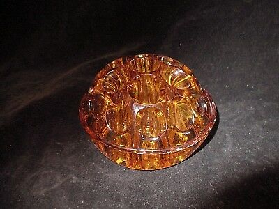 "Vintage 4"" Amber Glass Flower Frog, 19 Hole, Made in England"