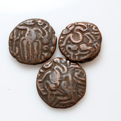 Lot Of 3 Uncertain Medieval India Bronze Coins