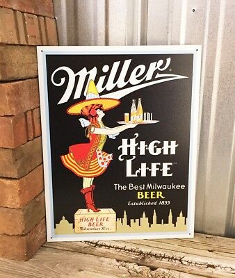 Miller High Life Brew Beer Vintage Style Metal Tin Sign Bar Man Cave Wall Decor
