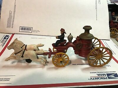 Antique Cast Iron Fire Engine! Horse Drawn Steamer! Vintage! Very Nice!