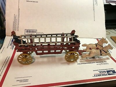 Antique Cast Iron Fire Engine! Horse Drawn Ladder Tender! Vintage! Very Nice!