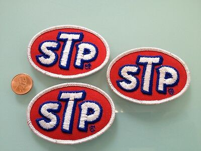 3 Vintage STP oil PATCH LOT unused RARE iron on Racing